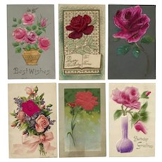 Embossed with Silk Appliques Floral Postcard Lot