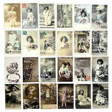 Lot of 24 Vintage REAL PHOTO Postcards ~ Lovely Young Girls