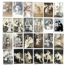 Lot of 24 Vintage REAL PHOTO Postcards ~ Young Children and Families