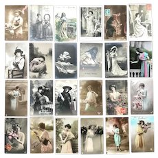 Lot of 24 Vintage REAL PHOTO Postcards ~ Lovely Young Ladies