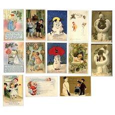 Lot of 13 Vintage Christmas Holiday Postcards ~ Children, Ladies, Snowmen