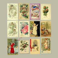 Lot of 12 Vintage Christmas Postcards and Greeting Cards