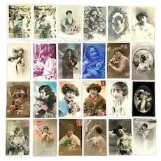 Lot of 24 Vintage REAL PHOTO Postcards ~ Young Ladies with Flowers