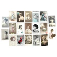 Lot of 10 Vintage REAL PHOTO Postcards of Young Ladies
