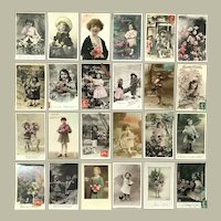 Lot of 24 REAL PHOTO European Postcards of Charming Little Girls