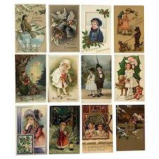 Lot of 12 Vintage Christmas Postcards ~ Children, Birds