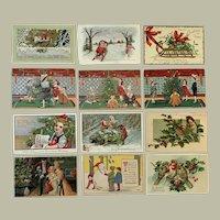 Lot of 12 Vintage Christmas themed Postcards ~ Children, Reindeer, Snowman