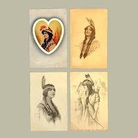 Lot of 4 Vintage Native American Indian Princess Postcards