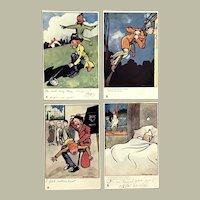Lot of 4 Vintage TUCK'S Oilette Graham Hyde Postcards