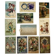 Lot of 11 Vintage New Year's Postcards ~ Children, Clocks and a Cupid