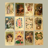 Lot of 11 Vintage New Year's Postcard and Mechanical Calendar