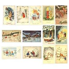 Lot of 13 Vintage 1960's European Christmas Postcards ~ Children, Angels, Gnomes