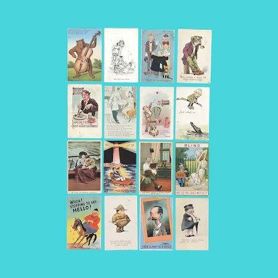 Lot of 16 Vintage COMIC Postcards ~ Unique Grouping