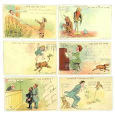 Lot of 6 ~ 1905 Vintage Comic Postcards ~ R.F. Outeault Signed ~ UNIQUE