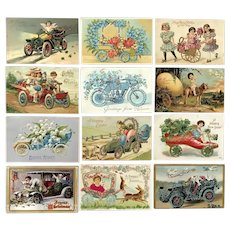 Lot of 12 Vintage Holiday Postcards of FLORAL Carts, Cars, Bike and a SHOE Car
