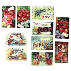Lot of 10 Vintage Greetings Postcards ~~ Brilliant Color Flower Bouquets, Doves