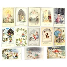 Lot of 13 Vintage European 1960's Christmas Postcards ~ Angels and Children