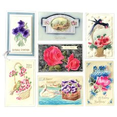 Lot of 7 Vintage Gorgeous HIGHLY EMBOSSED Postcards ~ Floral, Birds, Greeting Cards