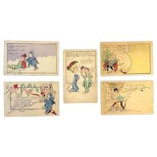 Lot of 5 Vintage 1905 LEDERER Comic Postcards ~ Unique