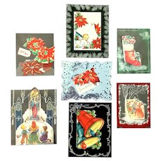 Lot of 7 Vintage CHRISTMAS Acetate Foil Greeting Cards ~ Poinsettia, Carolers, Church Scene