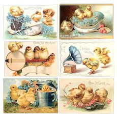 Lot of 6 Vintage Easter Humanized Baby Chick German Postcards