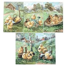 Lot of 5 Vintage Easter German Postcards Chicks in Baskets, Wagon, Watering Can