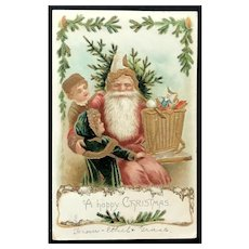 1907 Santa in Pink Suit with Children, Tree and Toys Gilded Gold Embossed Postcard