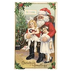 c 1900 Santa Claus Sitting in Chair Holding Two Little Girls Postcard