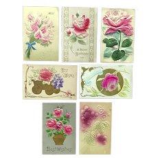 Lot of 7 Vintage FLORAL Greetings Postcards ~ Heavily Embossed, Felt, Silk Flowers