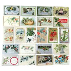 Lot of 22 Vintage CHRISTMAS Themed Embossed Postcards ~ Holly and Berries in Shapes