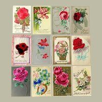 Lot of 12 Vintage FLORAL Heavily Embossed Post cards