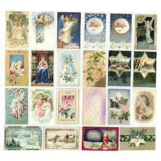 Lot of 22 Vintage CHRISTMAS Greeting Postcards ~ Religious, Angels, Church Scenes