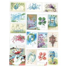 Lot of 17 Vintage FLORAL SHAPES Greeting Postcards ~ Boats, Cannon, Wishing Well, Bird Houses ~ Jamestown Exposition Stamp