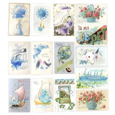 Lot of 14 Vintage Forget Me Not FLORAL Postcards ~ Basket, Vase, Boats, Clock, Letter Shapes