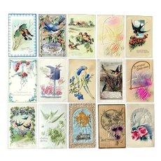 Lot of 15 Vintage BIRDS Postcard ~ Embossed Parrot, Doves, Bluebirds, Robins