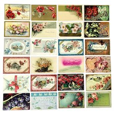 Lot of 24 Vintage Floral Postcard Greetings ~ Vases, Scenes, Bouquets ~ Lovely Colors ~ c 1900