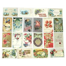Lot of 20 Vintage FLORAL Postcards ~ Flowers, Scenes, Boats, Baskets, Shapes, Birds