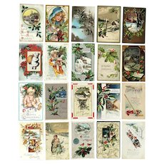 Lot of 20 Vintage Christmas and New Years HOLIDAY Postcards ~ Children, Sledding, Hockey, Holiday Scenes