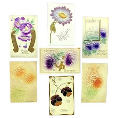 Lot of 7 Vintage FLORAL Greetings Postcards ~ Embossed Purple Pansies, Roses, Mums