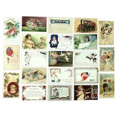 Lot of 21 Vintage VALENTINES Postcards ~ Flower Train, Children, Cupid, TUCKs, Sayings