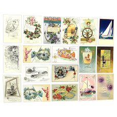 Lot of 18 Vintage NAUTICAL Scenes Greetings Postcards ~ Boats, Ships, Anchors Scenes
