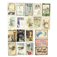 Lot of 19 Vintage NEW YEARS Greetings Postcards ~ Scenes, Churches, Clocks, Cupid, Sayings
