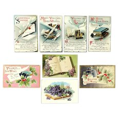 Lot of 8 Vintage BOOK Themed Postcards ~ Volumes of Good Wishes