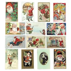 Lot of 14 Vintage SANTA postcards ~ Sledding, Talking to Children, Delivering Gifts