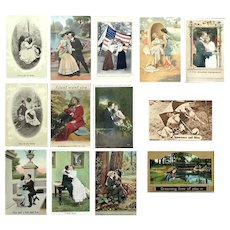 Lot of 13 Vintage c. 1900 Postcards with Couples in Romantic Settings