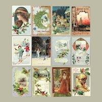 Lot of 12 Vintage Christmas Postcards ~ Snowman, Children, Puppy