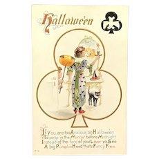 c. 1900 Halloween Postcard ~ Mirror with Pumpkin Head