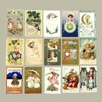 Lot of 15 Vintage New Years Greetings Postcards ~ Children, Cupids, Scenes