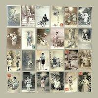 Lot of 24 Vintage c. 1900 REAL PHOTO Postcards ~ Children