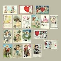 Lot of 18 Vintage VALENTINE's DAY Postcards ~ Children, Cupids, Comics